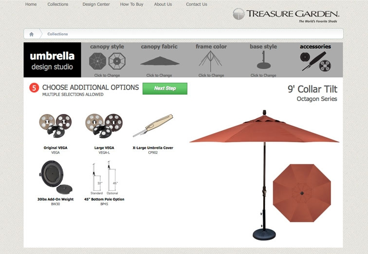 Choose accessory options for your umbrella.