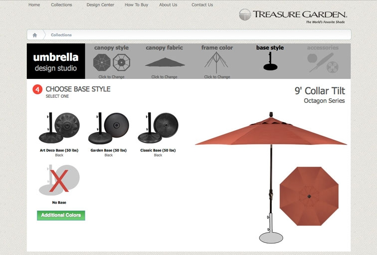 Choose an umbrella base for sturdy support of your custom umbrella.