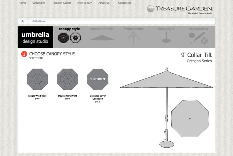 Choose they canopy style for your umbrella.