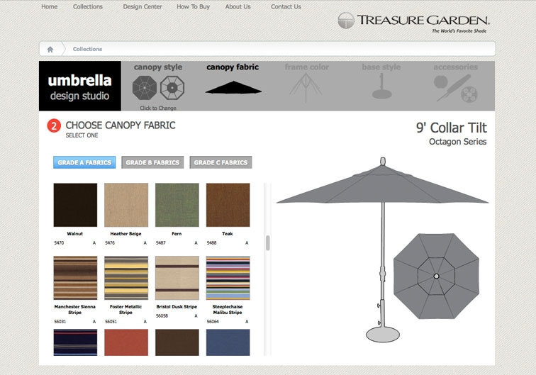 Choose from hundreds of fabric colors for your custom umbrella.