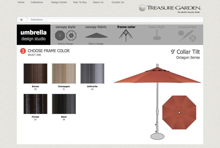 Select your patio umbrella frame.