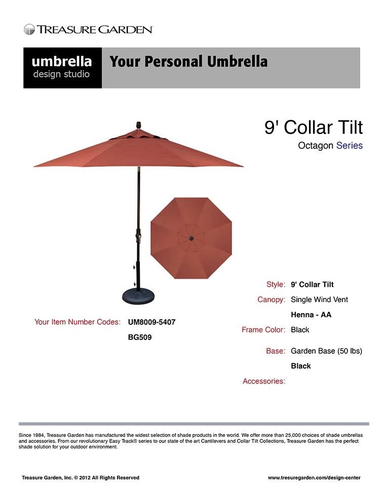 Take your custom umbrella spec sheet when you go shopping.
