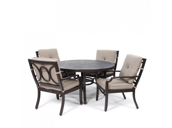Bellevue 5 piece dining set with Sailcloth Shadow cushions