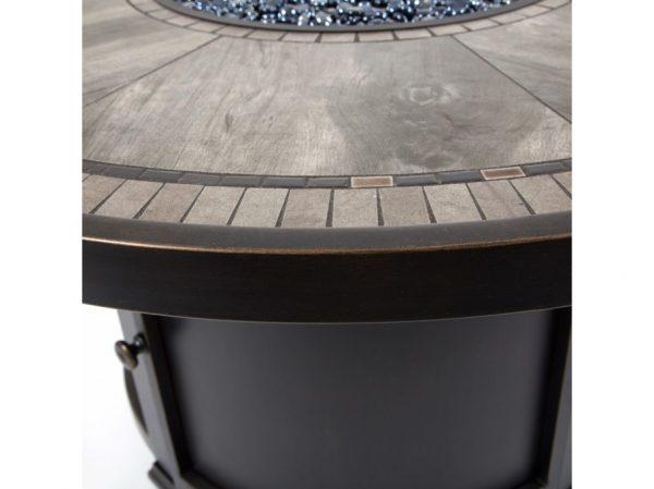 Agio Melrose aluminum fire pit porcelain top detail