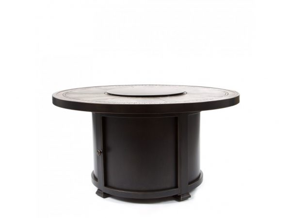 Agio aluminum Melrose fire pit with a porcelain stone top