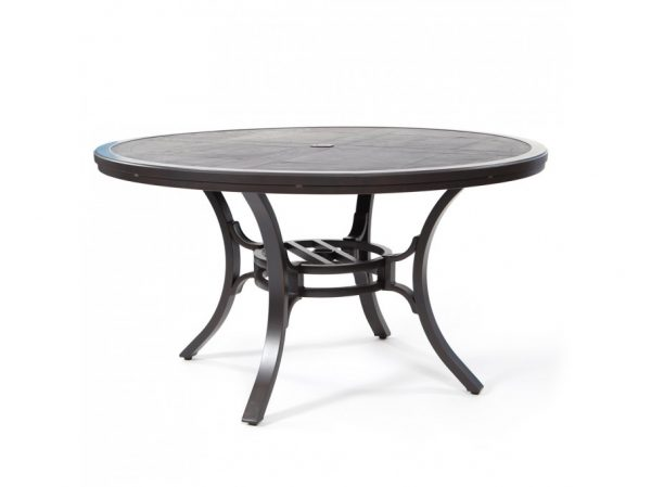 "Sunvilla 54"" round faux wood aluminum dining table"