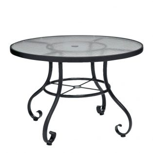 "Ramsgate 36"" round obscure glass top dining table with umbrella hole"