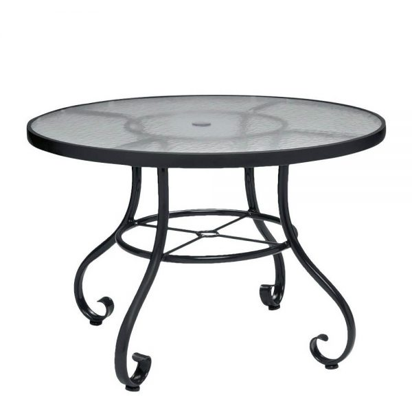 """Ramsgate 36"""" round obscure glass top dining table with umbrella hole"""