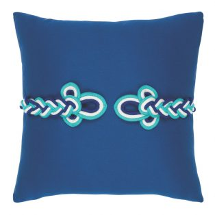 "Elaine Smith 19"" Cobalt Frog's Clasp designer throw pillow"