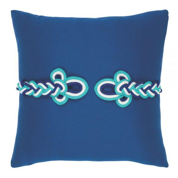 "Elaine Smith 19"" Cobalt Frog's Clasp designer throw pillow"