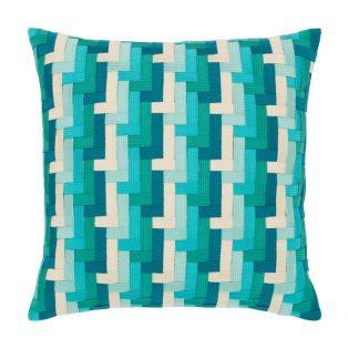 """Elaine Smith 20"""" square designer pillow - Aqua Basketweave"""