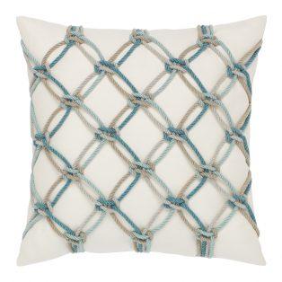 "Elaine Smith 20"" Aqua Rope designer pillow"