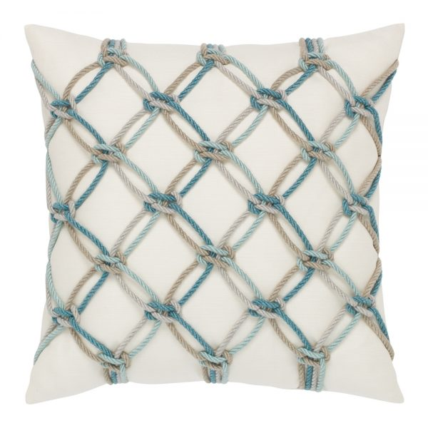"Elaine Smith 20"" Aqua Rope designer pillow"