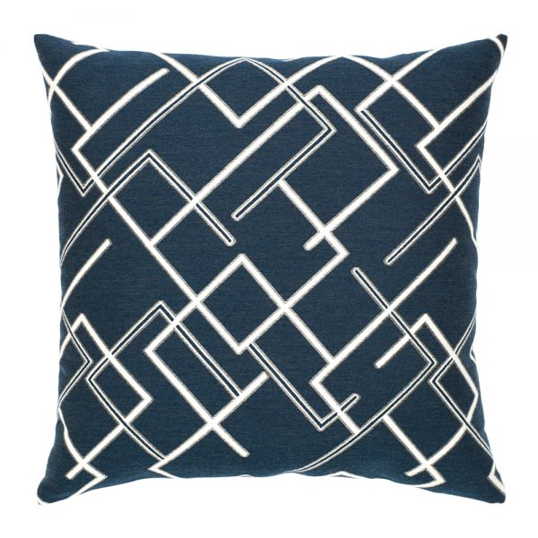 "Elaine Smith 20"" Divergence Indigo designer outdoor pillow"