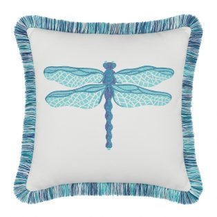 "Elaine Smith 20"" designer outdoor throw pillow - Dragonfly Pool"