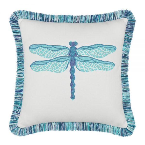 "Elaine Smith 20"" designer outdoor throw pillow - Dragonfly Pool"