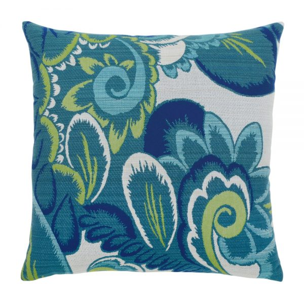 """Elaine Smith Floral Wave 20"""" square outdoor throw pillow"""