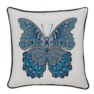 """20"""" square Mariposa Azure outdoor throw pillow with cording from Elaine Smith"""