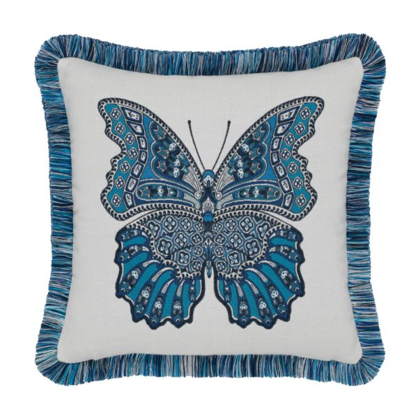 """20"""" square Mariposa Azure outdoor throw pillow with fringe from Elaine Smith"""