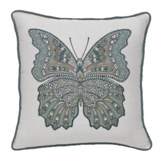 "20"" square Mariposa Lagoon outdoor throw pillow with cording from Elaine Smith"