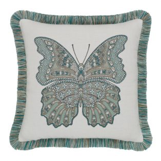 "20"" square Mariposa Lagoon outdoor throw pillow with fringe from Elaine Smith"
