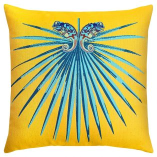 "22"" square Chameleon Lagoon outdoor pillow from Elaine Smith"