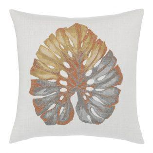 "Elaine Smith 22"" designer pillow - Metallic Leaf"