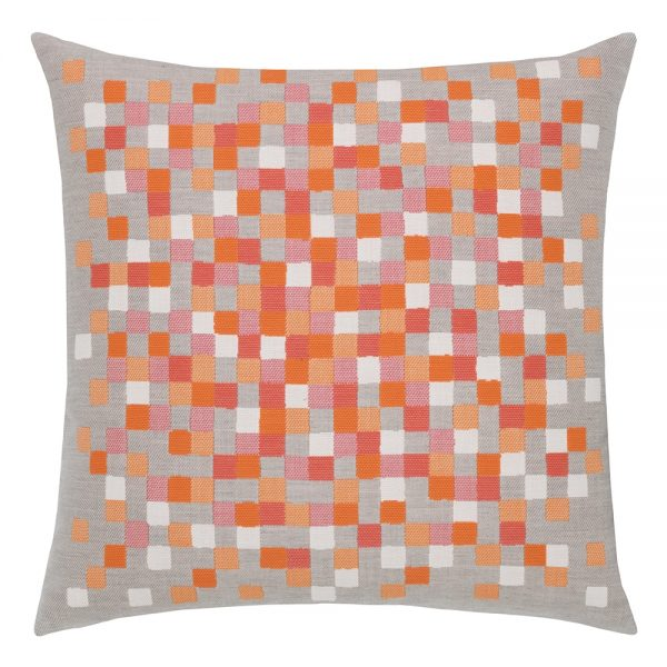 """22"""" Sherbet Check square patio pillow from Elaine Smith"""