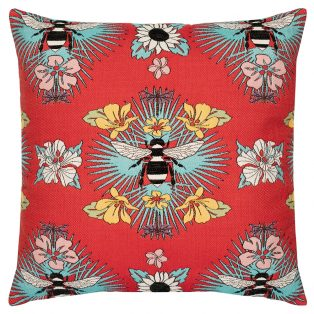 "Elaine Smith 22"" Tropical Bee designer pillow"
