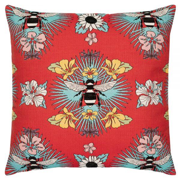 "Elaine Smith 22"" Tropical Bee designer pillow"
