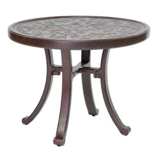 "Castelle 24"" round vintage cast side table with artisan top"