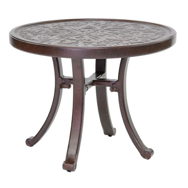 """Castelle 24"""" round vintage cast side table with artisan top"""