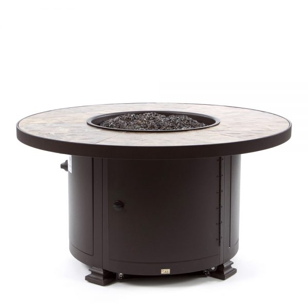 """36"""" Round Santorini occasional height fire pit - Rustic Slate top"""