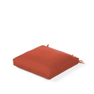 Thick outdoor dining seat pad with Sunbrella fabric