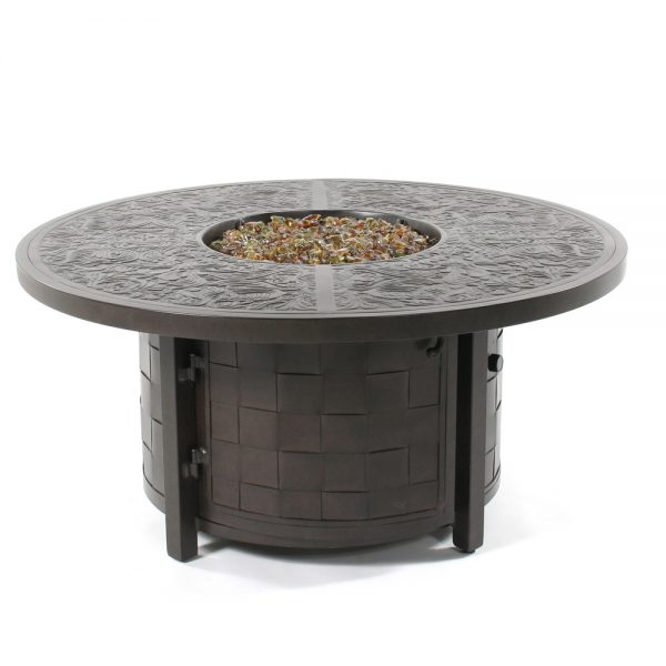 "50"" round coffee table with fire pit"