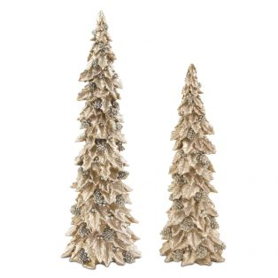 Holly trees with pinecone detail (Set of 2)