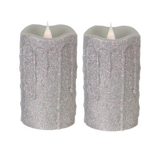 Simplux LED glittered dripping candle with moving flame (Set of 2)