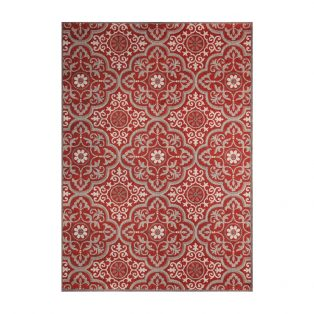5' x 7' Mosaic Red outdoor area rug from Treasure Garden