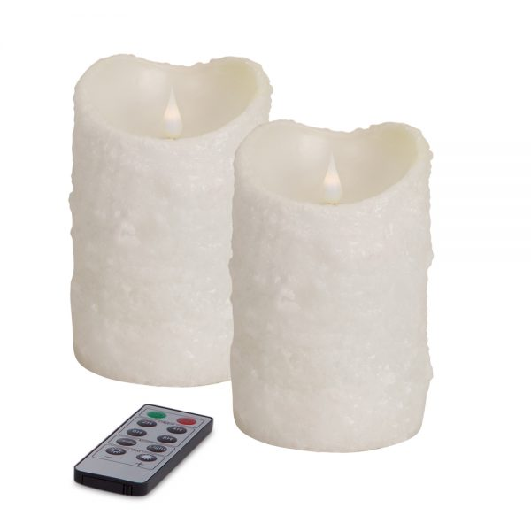 Simplux LED textured candle with moving flame (Set of 2)