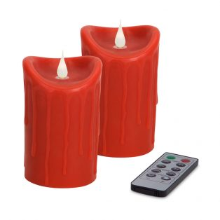 Red Simplux LED textured candle with moving flame (Set of 2)