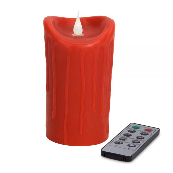 Red Simplux LED textured candle with moving flame