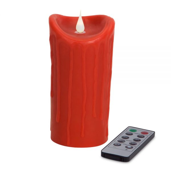 Red Simplux LED textured candle with moving flame (set of 2 )