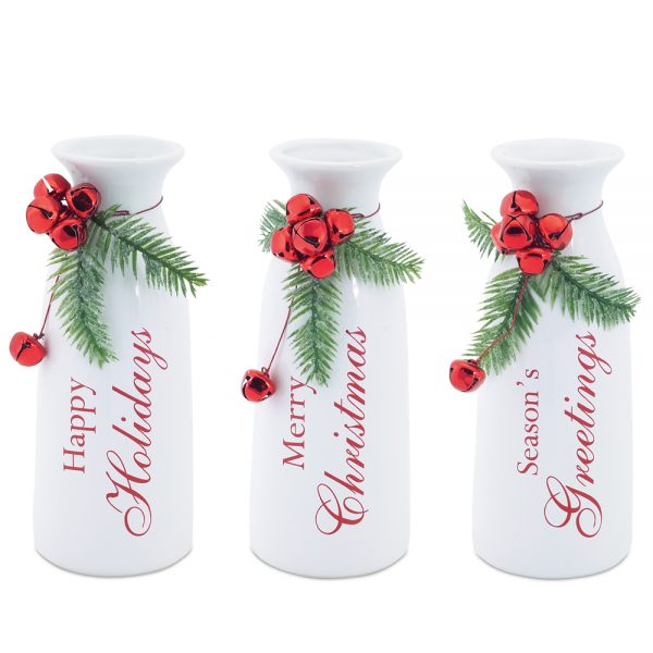Milk bottles with bell accent (Set of 3)