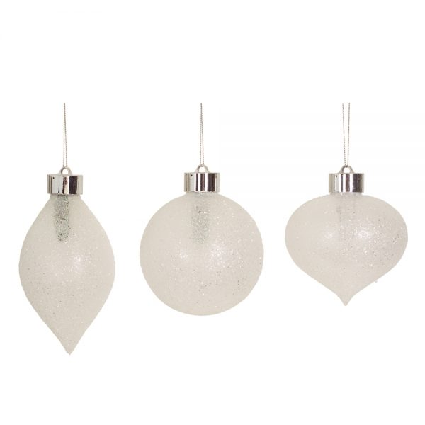 LED Frosted ornaments (Set of 6) with remote