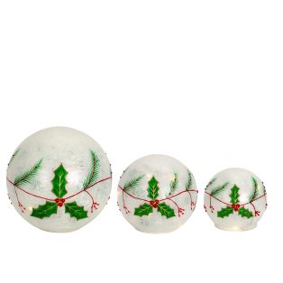 LED Holly globes (Set of 3)