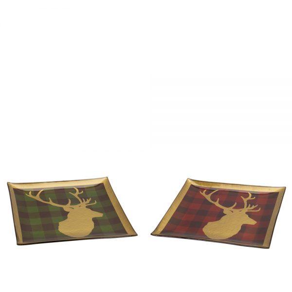 Deer head plaid plate (Set of 2)