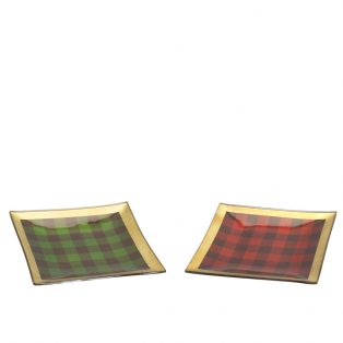 Plaid plate (Set of 2)
