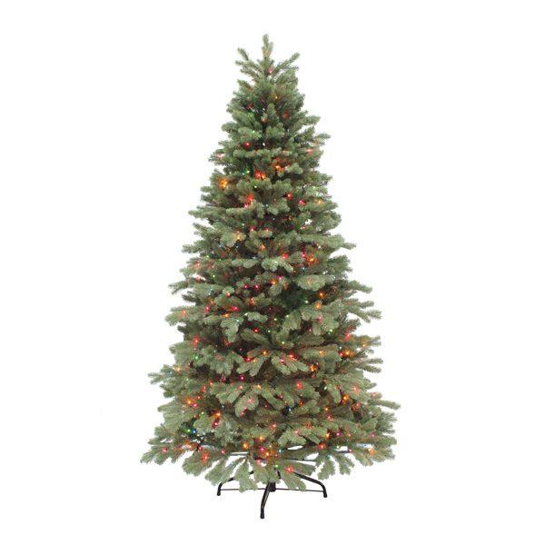7.5' Northwest slim one plug artificial Christmas tree - multi colored lights