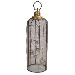 Screened birdcage tea light holder
