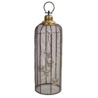 Screened birdcage tea light holder